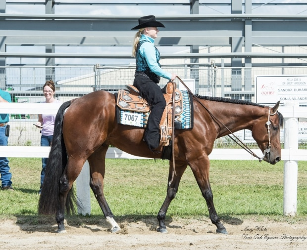 Jennifer Gower at a show riding in her Bob's custom show saddle and matching Bob's custom headstall.